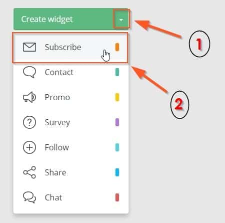 Click Create widget and then Subscribe