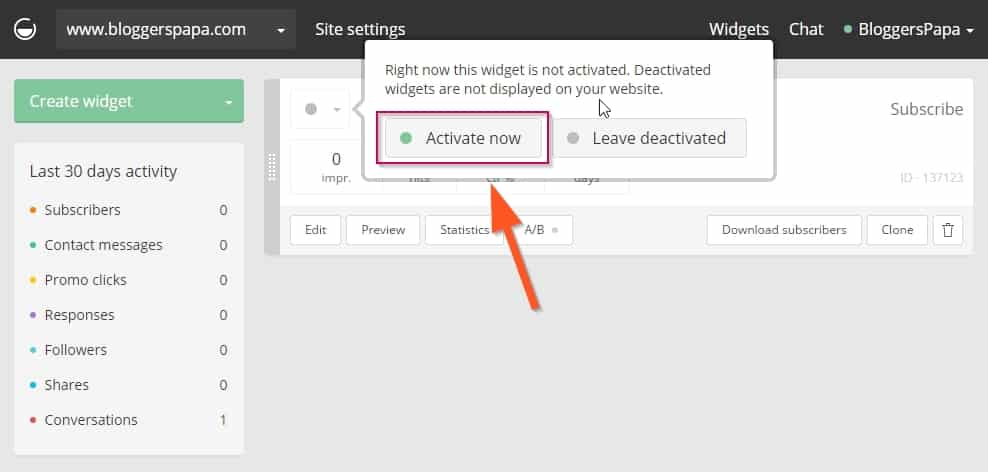 Click on Activate button to activate the Popup email widget on your site