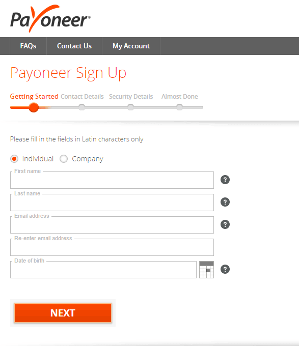 Getting started at Payoneer Sing Up Form