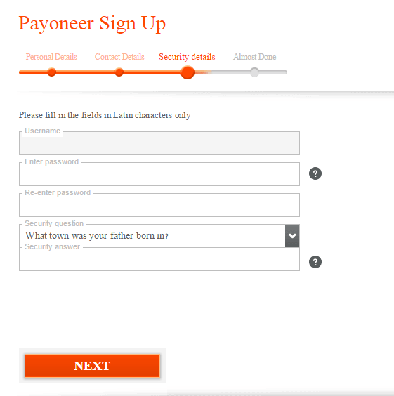 Providing Security Details on Payoneer Sign Up Form