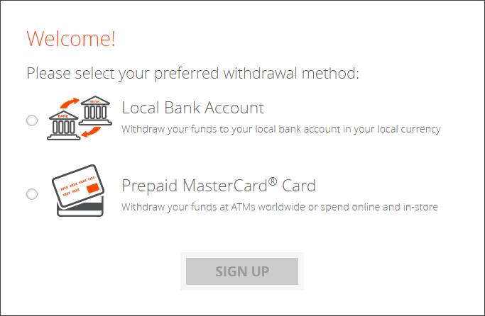 Select your preferred withdrawal method