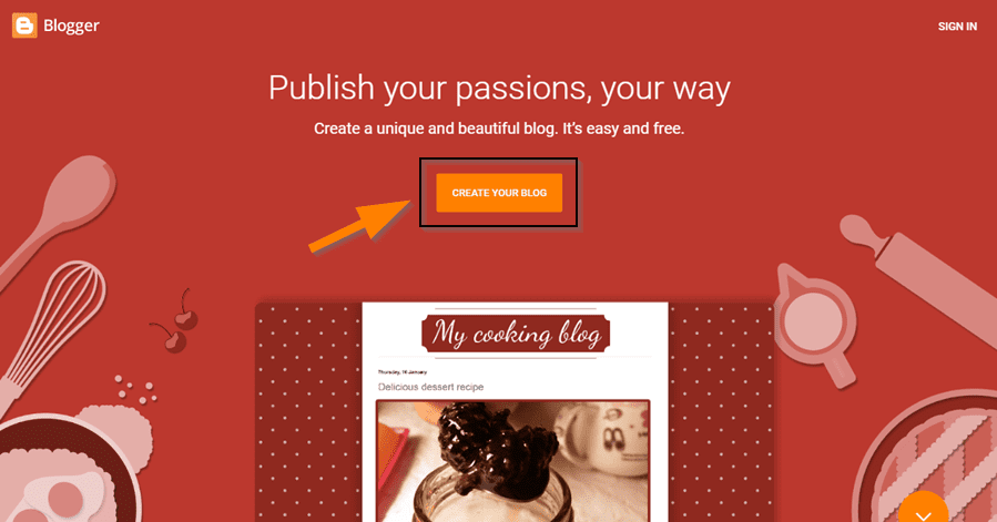 click on the orange Create Your Blog button