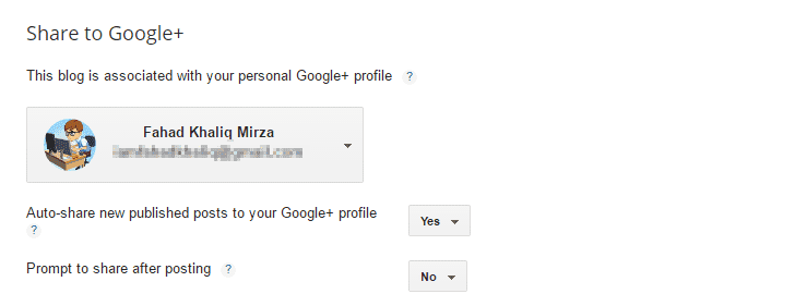 Share on Google Plus Settings of Bloggers