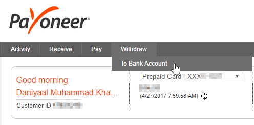 Choose Withdraw to Bank