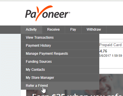 Copy Your Payoneer Referal Link