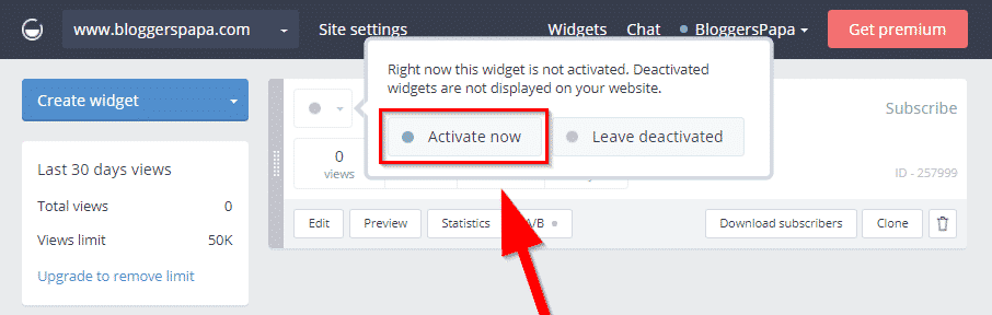 Activating Widget