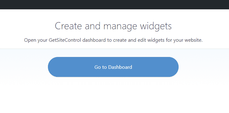 Go to Dashboard button